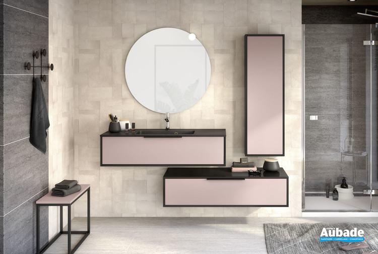 Meuble de salle de bains avec 1 coulissant de la gamme Ultra Cadra en largeur 120 cm finition Rose pastel mat et corps de meuble Noir mat de Delpha