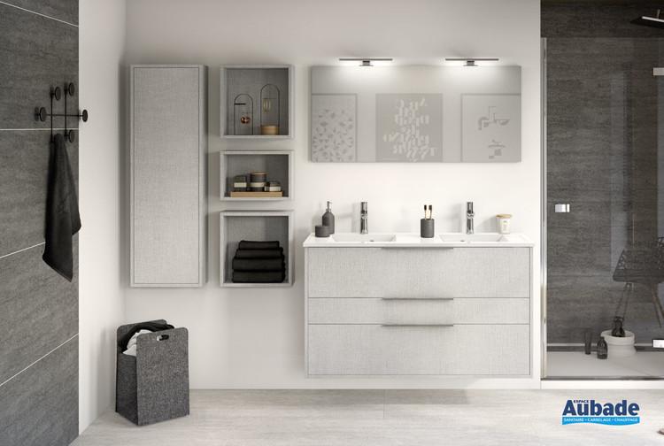 Meuble de salle de bains 2 coulissants et 1 tiroir Ultra Cadra largeur 120 coloris gris tissé structuré de la marque Delpha
