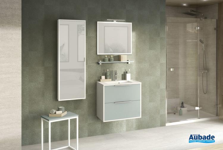 Meuble de salle de bains avec 2 coulissant de la gamme Ultra Cadra coloris Vert aloé mat et corps de meuble blanc brillant de Delpha