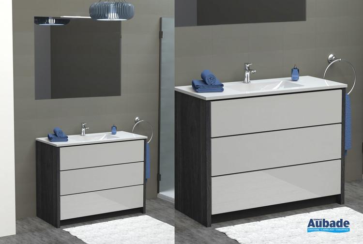 Meubles avec plan vasque Charme coloris caisson lucerne et façade blanc brillant de Lido