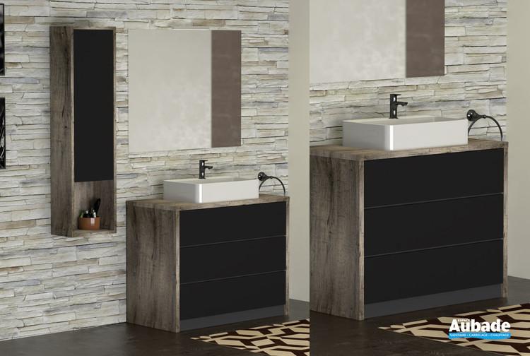Meuble Charme pour vasque à poser avec plage de robinetterie coloris héritage et façade noir mat par Lido