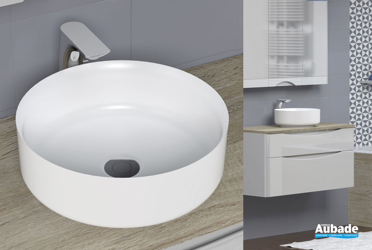 Vasque à poser Calie en solid surface blanc de la marque Lido