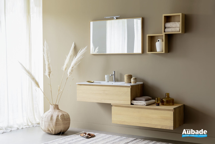 Meuble vasque suspendu 1 tiroir Effect 2 en chêne massif naturel de la marque Line Art