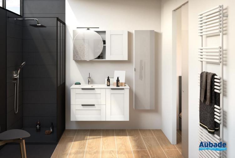 Meuble de salle de bains 100 centimètres de largeur Kami coloris cadre blanc mat de la marque Delpha