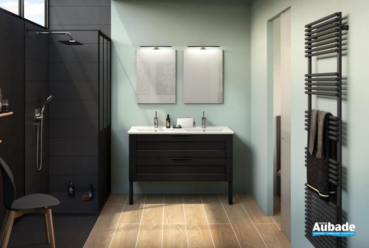 Meuble de salle de bains Kami largeur 120 centimètres coloris cadre noir mat de Delpha