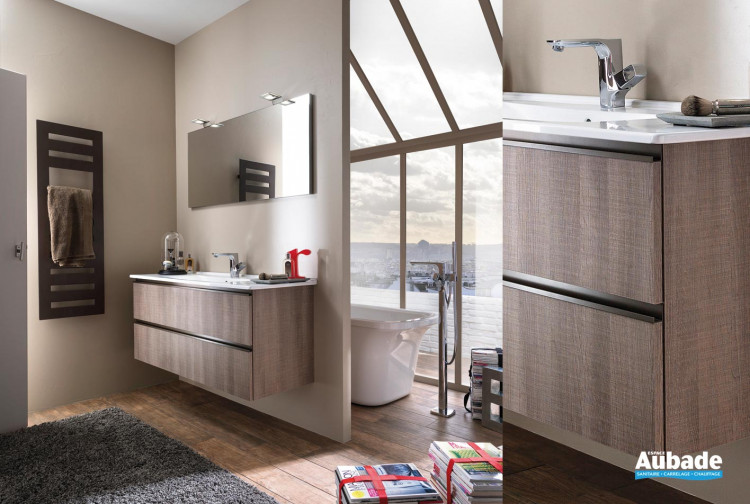 Meuble salle de bain décor bois Unique Delpha | Espace Aubade