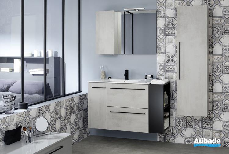 Meuble 2 tiroirs et 1 porte Impact 2 coloris béton gris de la marque Sanijura