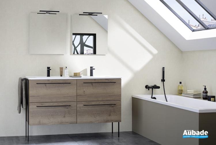 Meuble de salle de bains 2 niveaux 4 tiroirs Impact 2 coloris chêne tabac de Sanijura