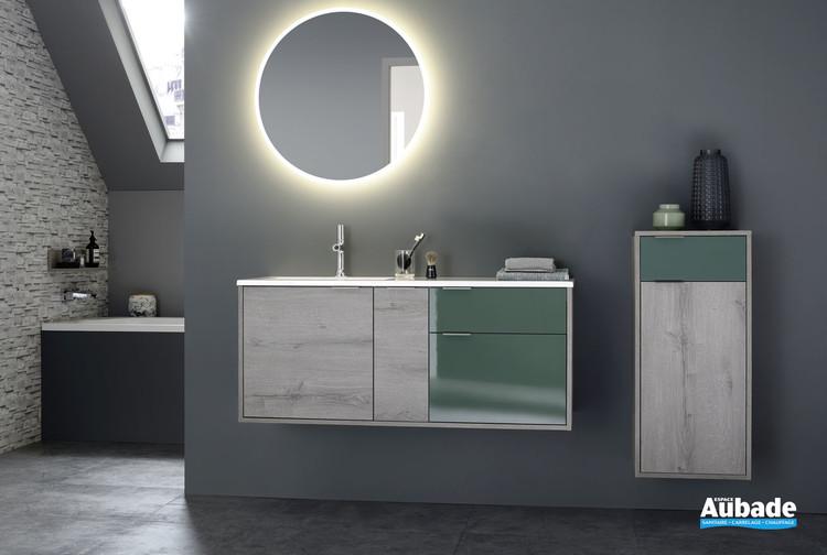 Meuble de salle de bains avec miroir rond LED Loggia de la marque Sanijura