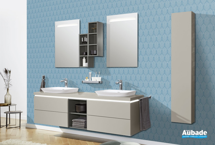 Meubles avec vasque à poser Vogue coloris laqué gris tourterelle de la marque Vigour