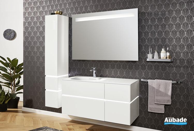 Meuble vasque 2 tiroirs et 2 coulissants Vogue coloris laqué blanc brillant de Vigour