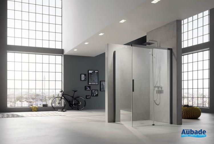 Paroi de douche avec porte coulissante Nica NI D2R/L + NI TWR/L de Rothalux