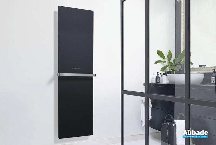 Radiateur sèche-serviettes Claris électrique façade en verre coloris Noir brillant de la marque Acova