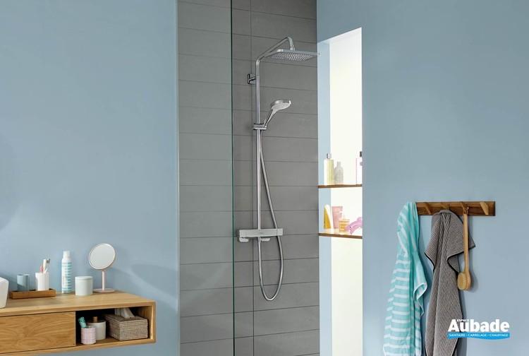 Colonne de douche chromé et blanc Showerpipe Croma E 280