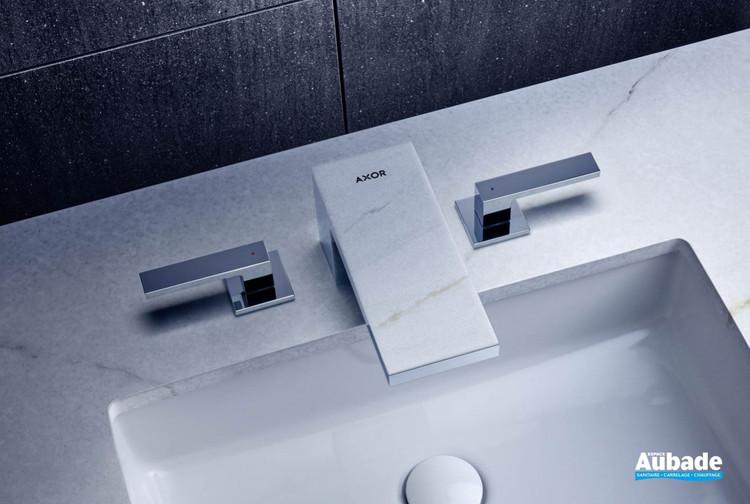 Mélangeur lavabo 3 trous plaque marbre blanc 70 AXOR My Edition