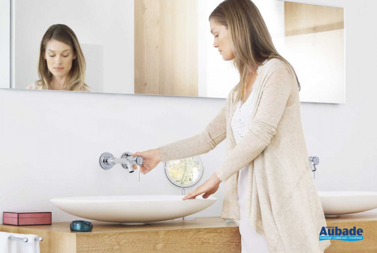 Robinets lavabos & vasques Grohe Atrio mural 2 trous