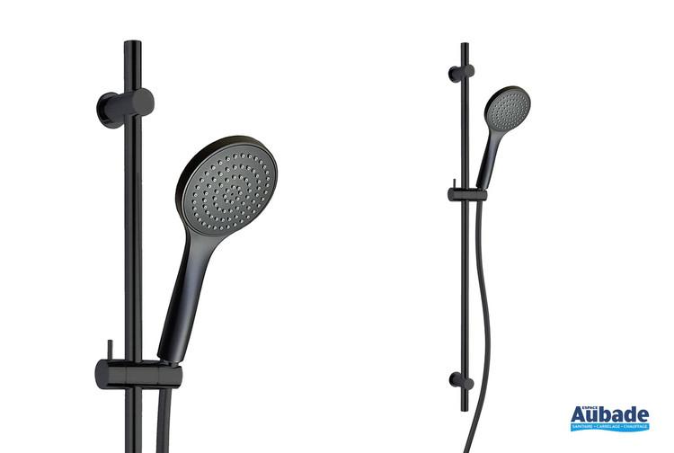 Ensemble sur barre de douche New-York en PVD noir brossé de la marque Paini