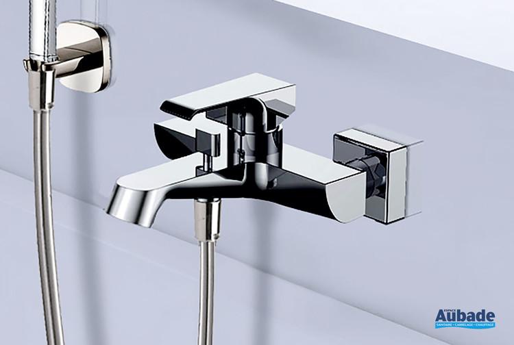 Robinet mitigeur mécanique pour bain douche Zohé fixation murale et finition chromée par Paini France