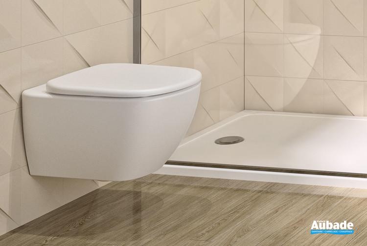 Pack cuvette suspendue Aquablade de la gamme Velours Evolution en céramique blanc mat par Ideal Standard