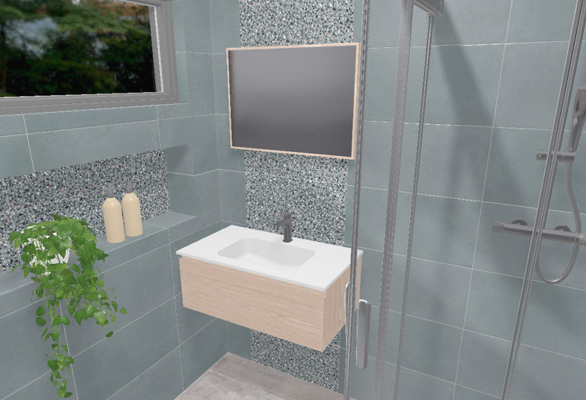 Meuble effect II salle de bain petite Terrazzo