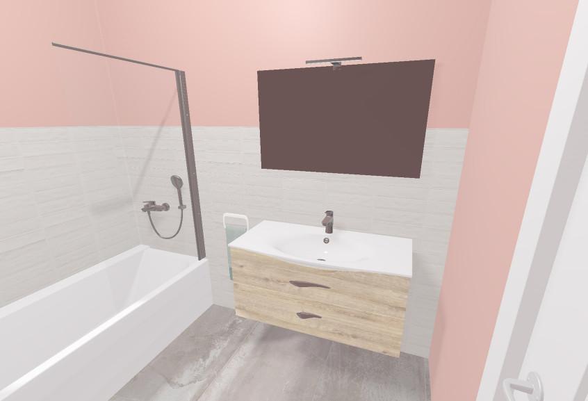 Meuble Flore salle de bain petite scandinave et bois