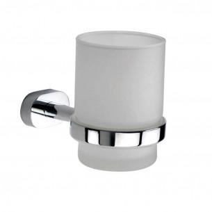 accessoires de toilette Inda Porte-verre Gaia finition chromé et verre satiné