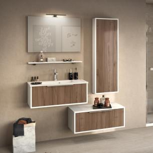 Meuble de salle de bains Ultra Cadra largeur 80 cm coloris Noyer brun structuré par Delpha