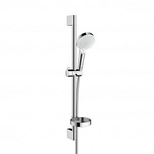 Barre de douche complète avec douchette Crometta Vario Ø 100 mm Blanc/Chromé