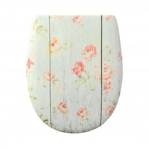 Abattant WC Olfa abattant bois et roses décor Ariane