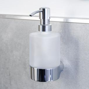 Porte-distributeur de savon à fixer Clivia finition chromé et verre satiné de la marque Vigour