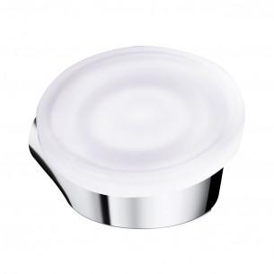 Porte-savon à fixer Clivia finition chromé et verre satiné de la marque Vigour
