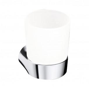 Porte-verre avec verre à fixer Clivia finition chromé de la marque Vigour