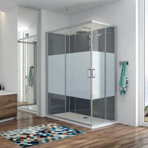 Cabine de douche intégrale Kara Minéral Leda - Vitrage sérigraphié et fond Gris métallisé