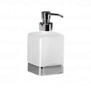 Distributeur de savon liquide à poser Cubo coloris chromé et verre satiné de Inda