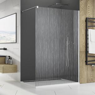 Paroi de douche fixe sérigraphiée chromé Fil d'eau par SanSwiss