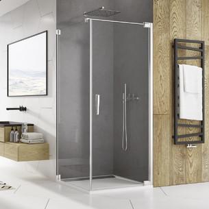 Paroi de douche avec porte pivotante Ophalys finition profilé poli brillant et verre transparent par SanSwiss