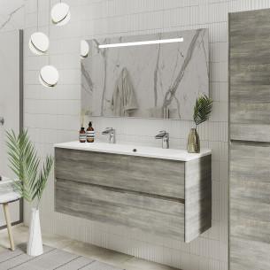 Meuble de salle de bains Elyps coloris Deauville avec plan vasque Blanc brillant de la marque Ambiance bain