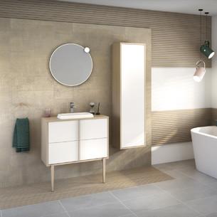 Meuble de salle de bains Evasion largeur 80 centimètres avec 2 coulissants coloris Blanc brillant et corps de meuble décor chêne doré structuré de la marque Delpha