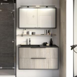 meuble salle de bains delpha ultra cadra largeur 100 chene nordique noir mat