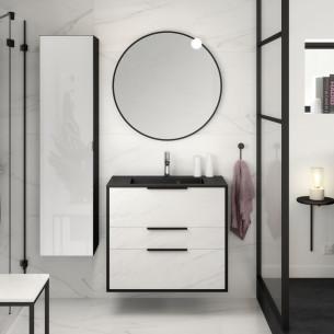meuble salle de bains delpha ultra cadra largeur 80 marbre blanc noir mat