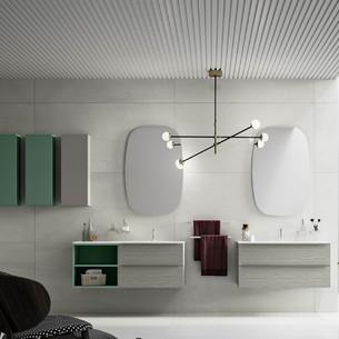 Meuble salle de bains Progetto Espresso 2 Tiroirs stratifié bois OlmoGrey + Niche ouverte laquée mat de Inda