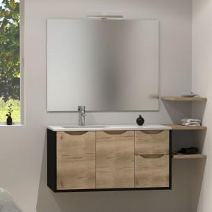 Meuble pour plan vasque Kazar de la marque Lido coloris noir mat et façade canada