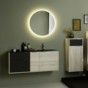 Meuble de salle de bain Loggia melamine chêne alabama et laque noir soft de Sanijura