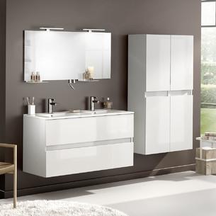 Meuble double vasque avec 2 coulissants D Motion coloris Blanc brillant de la marque Delpha