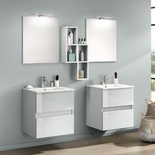 Meubles de salle de bains avec 2 coulissants D-Motion largeur 60 centimètres coloris Gris nuage brillant par Delpha