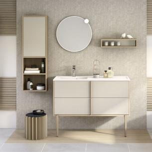 Meuble Evasion largeur 120 centimètres avec 2 coulissants coloris Beige mat et corps de meuble décor chêne doré structuré de la marque Delpha