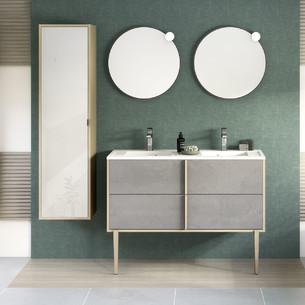 Meuble double vasque Evasion largeur 120 centimètres avec 2 coulissants coloris Béton foncé structuré et corps de meuble décor chêne doré structuré par Delpha