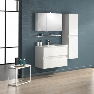Meuble de salle de bains D motion 90 cm ligne blanc satiné de Delpha