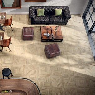 Collection Parquet par Pavigres en coloris Pine Shell, Pine Squares, Pine Cross et Pine Chevron