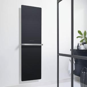 Radiateur sèche-serviettes Claris électrique façade en verre coloris Noir brillant